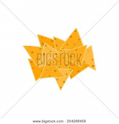 Flat vector color mexican fast food nachos icon. Traditional mexican fast food symbol for cafe bar restaurant menu design background