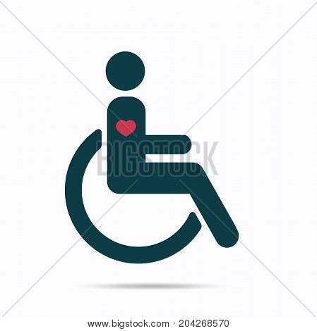 Disabled icon have heart in body, Vector illustration isolated on white background