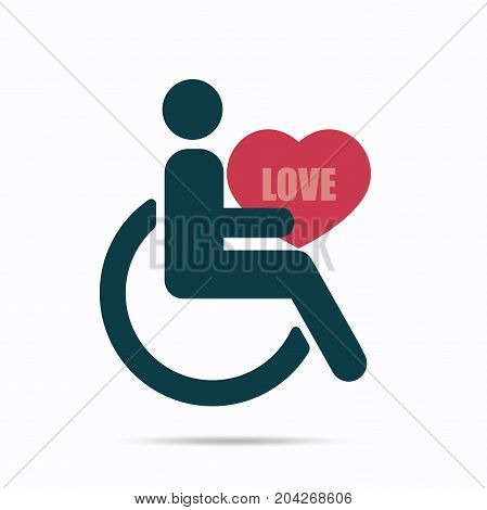 Disabled icon hold heart with love word, Vector illustration isolated on white background