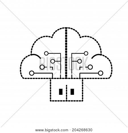 dotted shape brain cloud data with circuits and door connection vector illustration