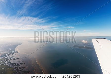 Typical landscape on the west coast of Florida in Fort Myers. Aerial view of the sea and the beautiful beaches of Florida.