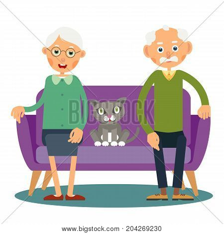 On the sofa sit elderly woman man and cat. Family portrait of elderly with animal. Married couple of pensioners at home on vacation with a pet. Illustration in flat style. Isolated