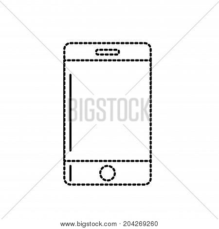 dotted shape technology smartphone to communicate and speak vector illustration