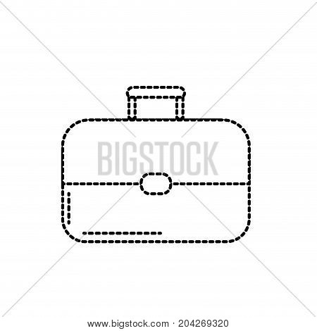 dotted shape business suitcase to save important document vector illustration