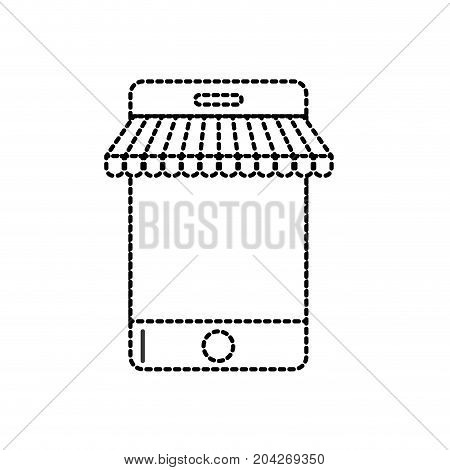 dotted shape technology smartphone to business information vector illustration