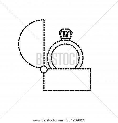 dotted shape engagement ring and romantic relationship tradition vector illustration