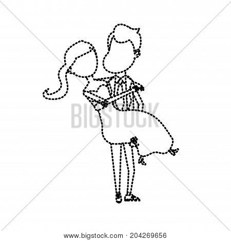 dotted shape happy couple married and man carrying his wife vector illustration