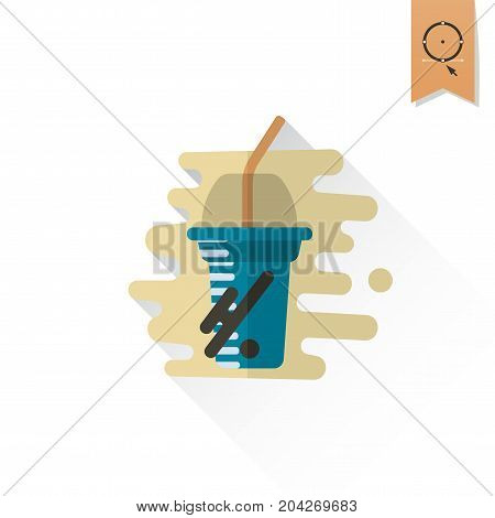 Disposable Cup with Lid and Straw. Dessert Icon in Simple, Minimalistic and Modern Flat Design Style for Candy Shop. Retro Color. Long Shadow