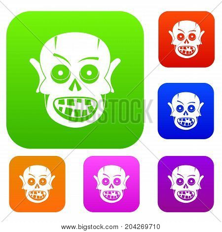 Living dead set icon color in flat style isolated on white. Collection sings vector illustration