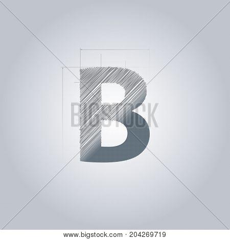 Letter B logo. Alphabet logotype architectural design. Grey color. Blueprint. With gradient.
