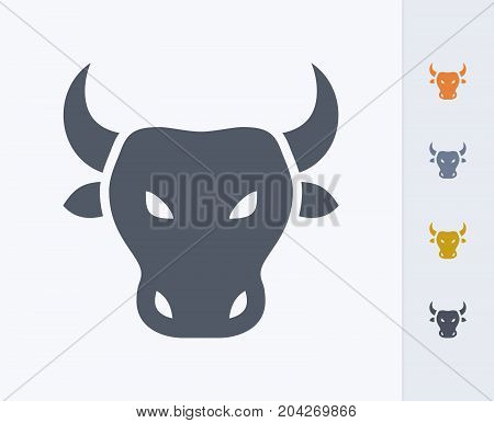 Bull Head - Carbon Icons. A professional, pixel-perfect icon designed on a 32x32 pixel grid and redesigned on a 16x16 pixel grid for very small sizes