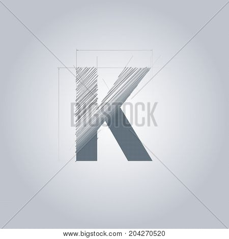 Letter K logo. Alphabet logotype architectural design. Grey color. Blueprint. With gradient.