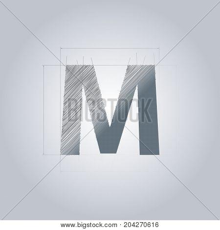 Letter M logo. Alphabet logotype architectural design. Grey color. Blueprint. With gradient.