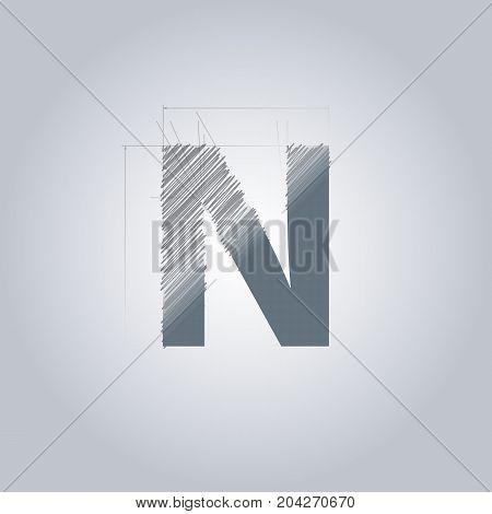 Letter N logo. Alphabet logotype architectural design. Grey color. Blueprint. With gradient.