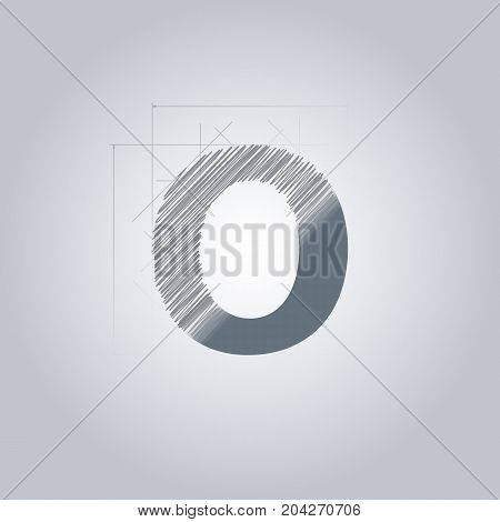 Letter O logo. Alphabet logotype architectural design. Grey color. Blueprint. With gradient.
