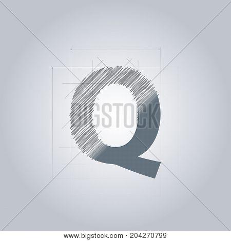 Letter Q logo. Alphabet logotype architectural design. Grey color. Blueprint. With gradient.