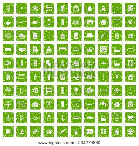 100 heating icons set in grunge style green color isolated on white background vector illustration