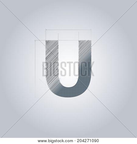 Letter U logo. Alphabet logotype architectural design. Grey color. Blueprint. With gradient.