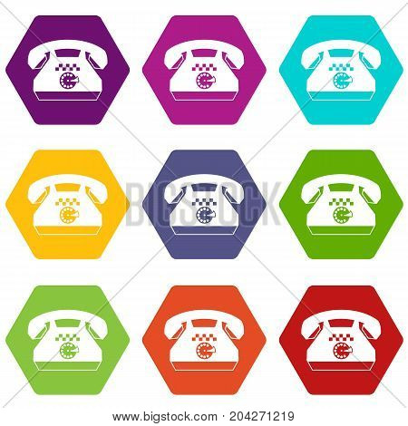 Taxi phone icon set many color hexahedron isolated on white vector illustration