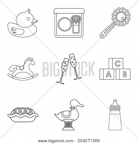 Little children toy icons set. Outline set of 9 little children toy vector icons for web isolated on white background