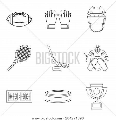 Winter sport game icons set. Outline set of 9 winter sport game vector icons for web isolated on white background