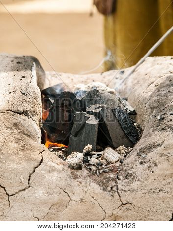 Coal In A Small Furnace Of A Blacksmith, Vertical