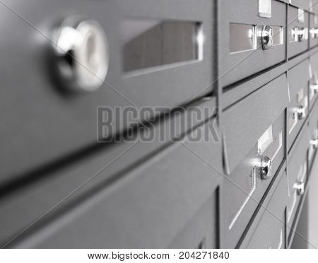Group of letterbox with lock in condo