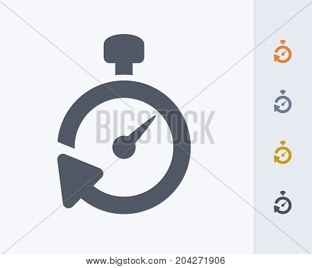 Stopwatch Reset - Carbon Icons. A professional, pixel-perfect icon designed on a 32x32 pixel grid and redesigned on a 16x16 pixel grid for very small sizes poster