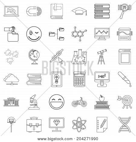 Education icons set. Outline style of 36 education vector icons for web isolated on white background