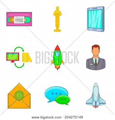 Business coaching icon set. Cartoon set of 9 business coaching vector icons for web design isolated on white background