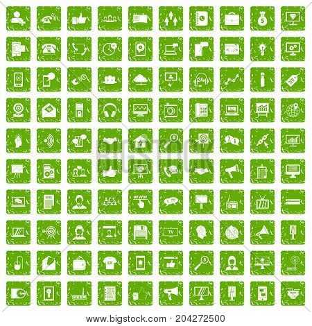 100 help desk icons set in grunge style green color isolated on white background vector illustration