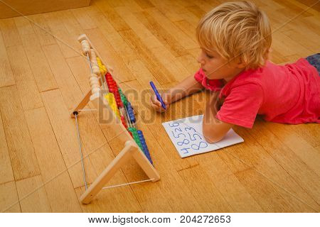 little boy learn counting and numbers, early kids development