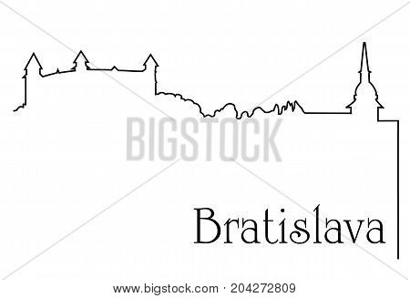 Bratislava city one line drawing - abstract background with cityscape of European capitol