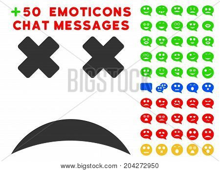 Dead Smile pictograph with bonus emotion pictograms. Vector illustration style is flat iconic symbols for web design, app user interfaces.