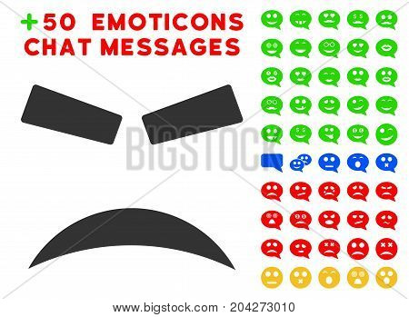 Furious Smile pictograph with bonus smiley pictograms. Vector illustration style is flat iconic symbols for web design, app user interfaces.