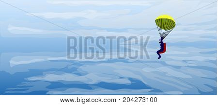 Jet pilot catapultation from flight down on parachute arround clouds and sky background.
