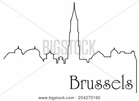 Brussels city one line drawing - abstract background with cityscape of European capitol