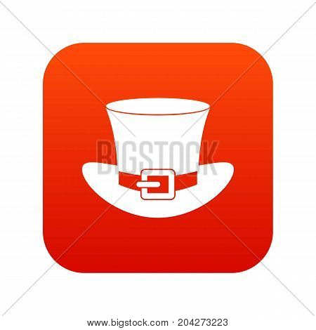 Top hat with buckle icon digital red for any design isolated on white vector illustration