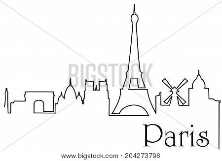 Paris city one line drawing - abstract background with cityscape of European capitol