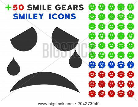 Tears Smile icon with bonus smile symbols. Vector illustration style is flat iconic symbols for web design, app user interfaces.