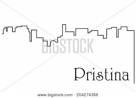 Pristina city one line drawing - abstract background with cityscape of European capitol