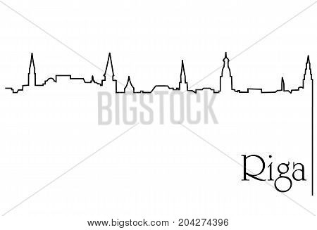 Riga city one line drawing - abstract background with cityscape of European capitol