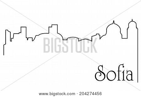 Sofia city one line drawing - abstract background with cityscape of European capitol