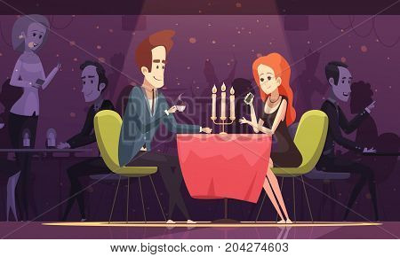 Young couple having romantic dating and drinking coffee at table in restaurant interior flat cartoon vector illustration