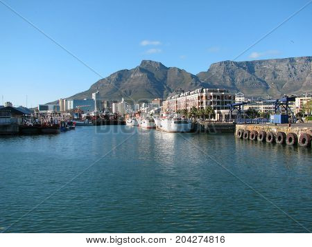 FROM THE VICTORIA AND ALFRED WATERFRONT, CAPE TOWN SOUTH AFRICA, ON A CLEAR SUMMER DAY