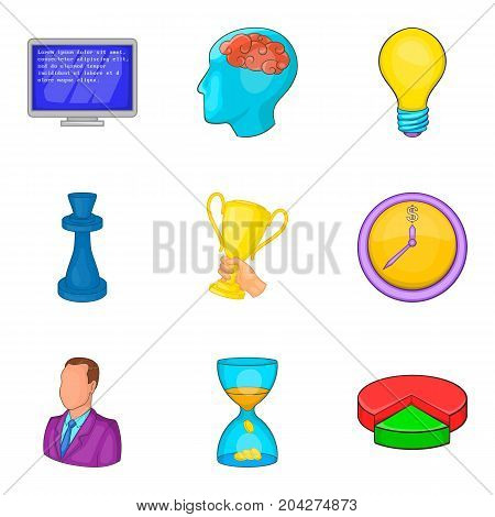 Champion coaching icon set. Cartoon set of 9 champion coaching vector icons for web design isolated on white background