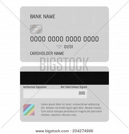 Credit card icon. Realistic illustration of credit card vector icon for web design isolated on white background