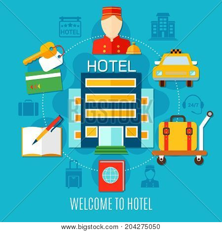 Welcome to hotel design concept with bellman figurine room keys taxi car cart with suitcase flat icons vector illustration