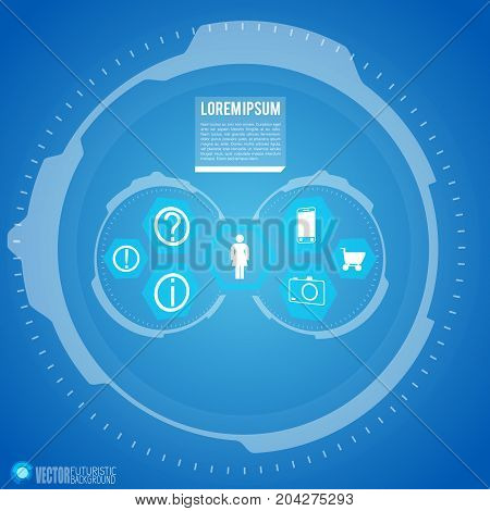 Futuristic infographics with woman and her hobbies icons digital technology elements on blue background vector illustration