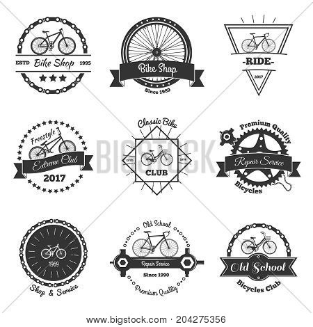 Bicycle vintage emblems set of isolated oldschool style bike club labels with decorative shapes and text vector illustration
